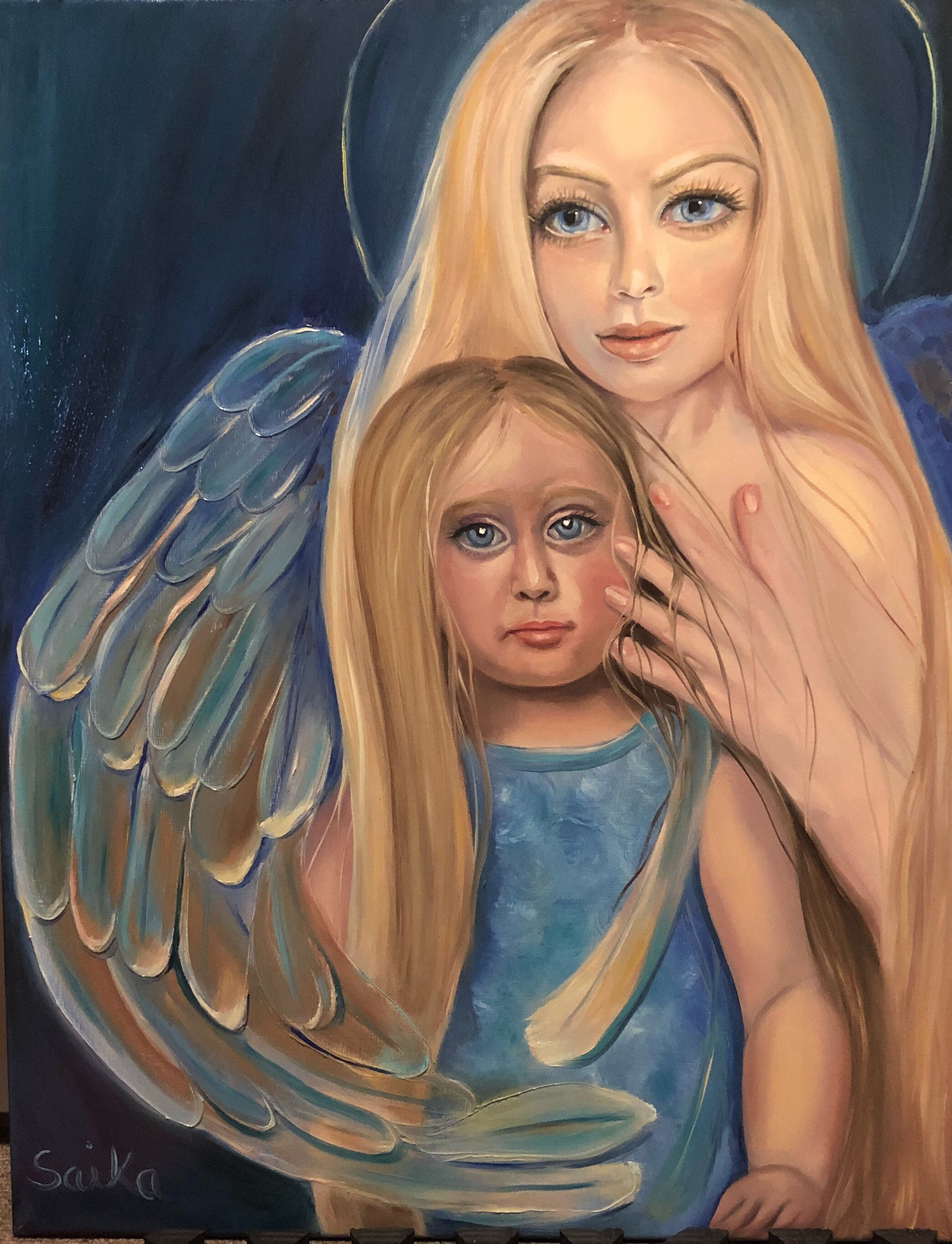 Pleiadian Godmother, oil painting, 24×28, angelic art, spiritual
