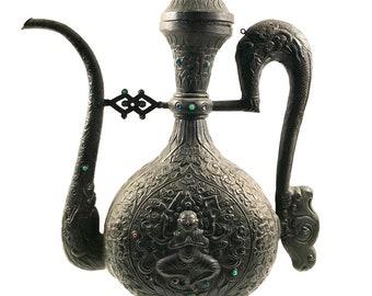Zen Buddist Large Metal Teapot with Inset Stones Lotus Blossoms Dragons