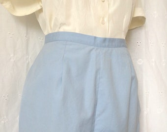 "Vintage 1950's Powder Blue Pin-up Shorts, High Waisted, Adjustable Size - 28"" Waist, 40"" Hip, 4"" Inseam"