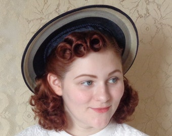 Sweet Vintage 1940's Navy Stripe Halo Hat, Beachy, Nautical Style Sun Hat with Cord Bow