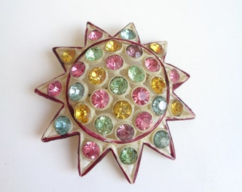 Vintage 1940's Novelty Sunburst Pin, Colorful Celluloid Plastic Brooch with Multi-Color Rhinestones, Star, Sun, Sputnik, Midcentury, Retro