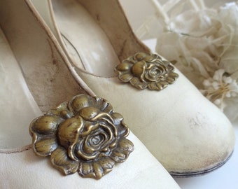 Pretty 1930's Vintage Brass Rose Flower Shoe Clips, Art Nouveau, Art Deco, Carved Floral