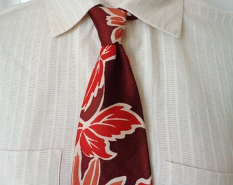 69c0a972b0db Vintage 1940's Floral Print Tie - Red, Burgundy, Orange Shades, Flowers  Leaves Outlined Cream - 4