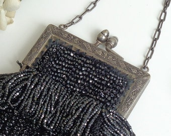 Antique Vintage 1920's Black Beaded Bag, Gatsby Wedding, Art Deco Flapper, Silver Metal Frame, Acorn Clasp