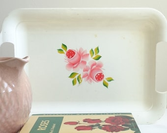 Super Cute 1950's Vintage Plastic Tray with Painted Pink Roses, Kitchen Decor, Cottage, Feminine, Mid-Century, Country, Shabby Chic