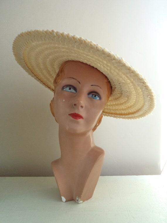 Vintage 1940's Wide Brim Cream Straw Hat, Yellow … - image 7