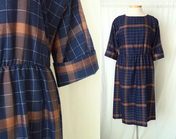 Vintage Navy and Rust Plaid Dress, 1970's Blouson