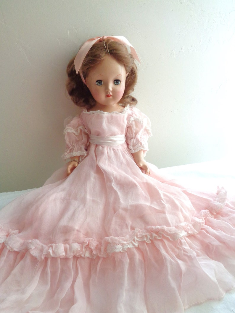 Vintage Toni Doll with Pink Party Dress and Hair Ribbon, Shoes and Panties,  Original Parts, 14