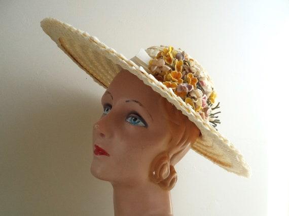 Vintage 1940's Wide Brim Cream Straw Hat, Yellow … - image 2