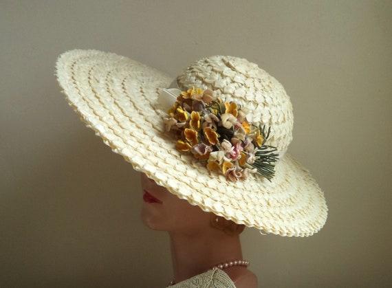 Vintage 1940's Wide Brim Cream Straw Hat, Yellow … - image 1