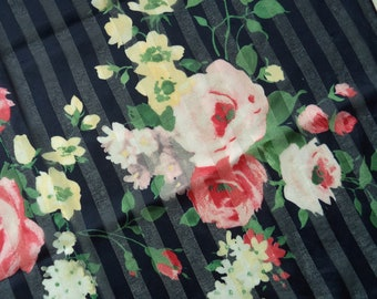 """Vintage 1960's Floral Navy Stripe Roses Scarf - Pink, Yellow, Green Flower Spray Bouquet, Square 19.5"""" x 19.5"""""""