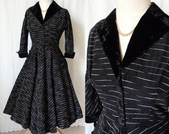 Vintage 1950's Princess Coat Dress, Black with White Dash Threading - Black Velvet Collar, Cuffs, Buttons - Full Circle Skirt