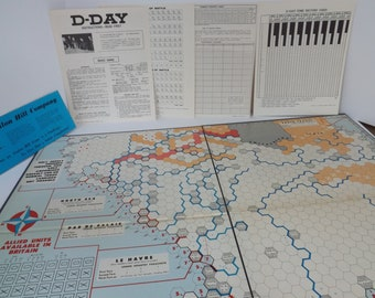D Day game board, Avalon Hill, 1965, vintage retro, mid century, WWII, boardgame, den, game room, games strategy strategic, replacement, war