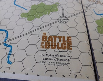 Battle of the Bulge game board, Avalon Hill, 1965, vintage retro, mid century, WWII, boardgame, den, game room, games strategy, replacement
