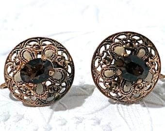 Vintage Clip Earrings Czech Jewelry Amber Rhinestone Earrings VA-145