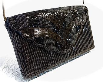 Vintage Beaded Evening Bag Black Handbags Vintage Purses VH-174