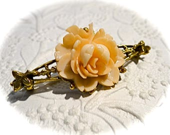 Vintage Peach Rose Bar Pin Victorian Brooch Vintage Jewelry VA-235