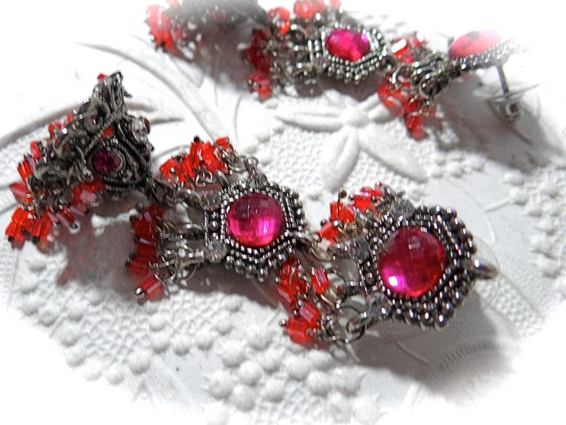 Bollywood Hot Pink Dangle Earrings Vintage Gypsy Earrings VA-283