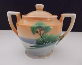 Hand Painted Sugar Bowl With Lid Made in Japan