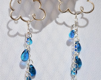 Silver Raincloud Earrings with Raindrops