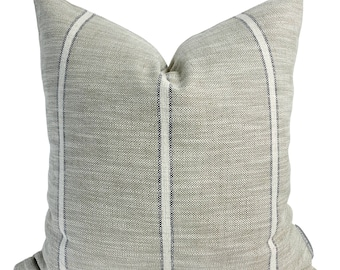 Weathered Stripe | Gray Pillow Cover, Stripe Pillow Cover, Neutral Pillow, Designer Pillow Cover, Vintage Style Pillow Cover, Hackner Home