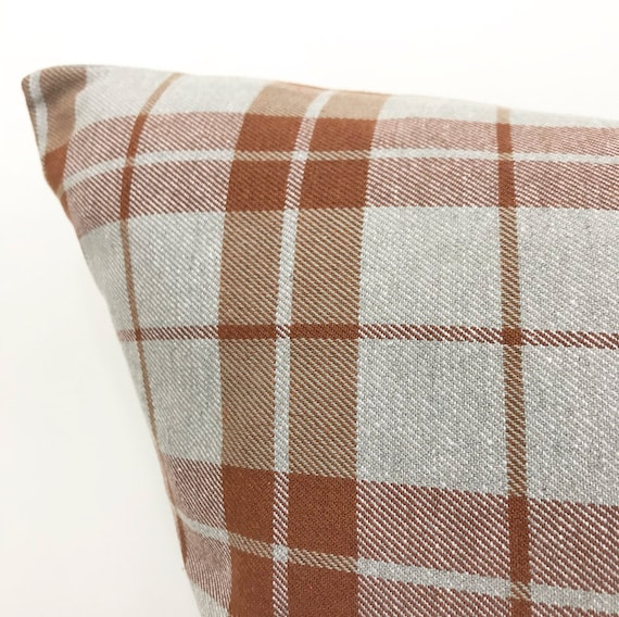 Gray & Rust Plaid Pillow Cover Plaid