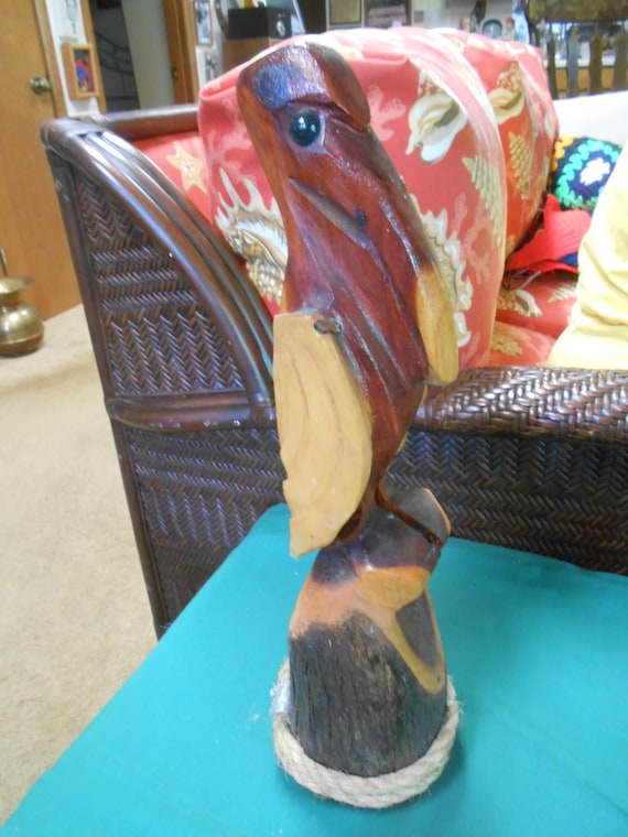 Handcarved Wood Pelican Statue