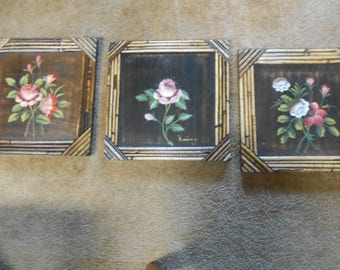 3 Floral WOOD Pictures