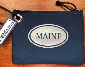 LIMITED QUANTITIES - Navy Blue Recycled Sailcloth Wristlet