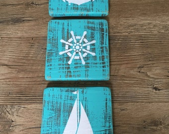 Set of 3 Reclaimed Wood Wall Art-Beach Decor-Wall Hanging-Beach House-Coatal Art-Nursery-Baby's Room-Sailboat-Anchor-Nautical Wheel