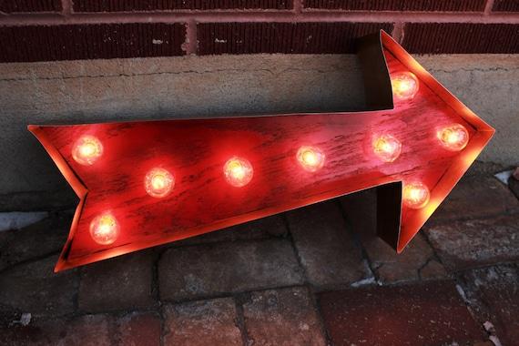 Red Arrow Light Vintage Arrow Sign Light Ampersand Sign | Etsy