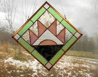 """Stained Glass Quilt Square Bear Paw Pattern Natural Colors - Handmade 9.5 """" Hanging Window Panel by Dark Hollow Stained Glass"""