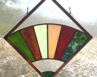 Appalachian Quilt Square Stained Glass Fan Window Hanging Multi-colored Stained Glass Art