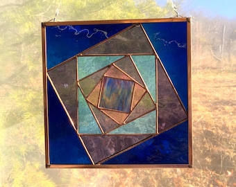 """Twisting Boxes 10.5"""" Handmade Stained Glass Quilt Square Traditional Appalachian Crafts Pattern with Blenko Mouth Blown Glass"""