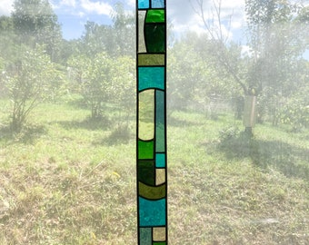 Stained Glass Shades of Green Blenko Mouth Blown Glass Light Bar, Light Strip, Window Hanging, Home Decor, Mid Century Look