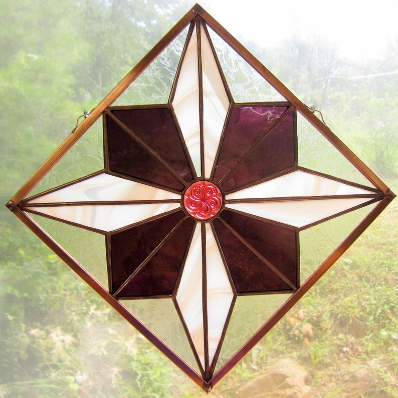 Japanese Star Stained Glass Quilt Square Hung Diagonally with German Jewel  Traditional Japanese Indigo Print Design Window Hanging