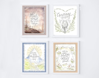Set of 4 Narnia Art Prints, C.S. Lewis Printable Quote Poster ~ Nursery Bedroom Decor ~ Inspirational Calligraphy 8x10 Wall Art