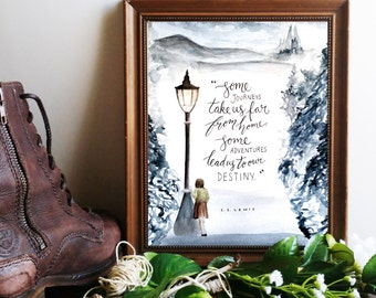 """Narnia Art Print, C.S. Lewis Printable Quote Poster ~ """"Some Journeys, Some Adventures"""" ~ Inspirational Calligraphy 8x10 Wall Art"""