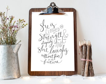 Proverbs 31:25 Christian Art Print, Inspirational Bible Verse Printable, She Is Clothed In Strength and Dignity 8x10 Handlettering Wall Art