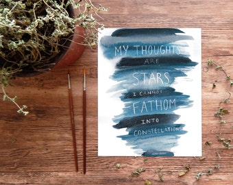 "The Fault In Our Stars Art Print, John Green quote, ""My Thoughts are Stars"" TFIOS watercolor printable ~ digital download 8x10 wall art"