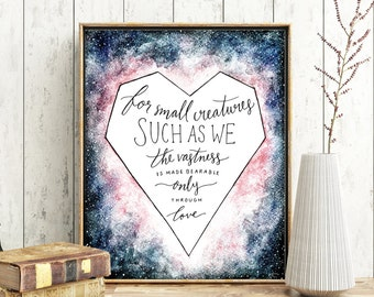 "Carl Sagan Art Print, ""For Small Creatures Such as We"" Watercolor Printable Quote, Galaxy Painting Digital Download 8x10 Wall Art"