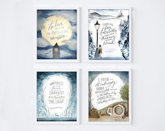 set of 4 book lover art prints book lover gifts poster set bookish gift for her harry narnia lotr peter pan 8x10 wall art