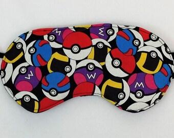 Pokemon pokeballs fabric made into Luxurious Sleep Mask. Eye mask made from Pokemon pokeballs fabric. Nerdy sleeping mask. Geek travel mask.