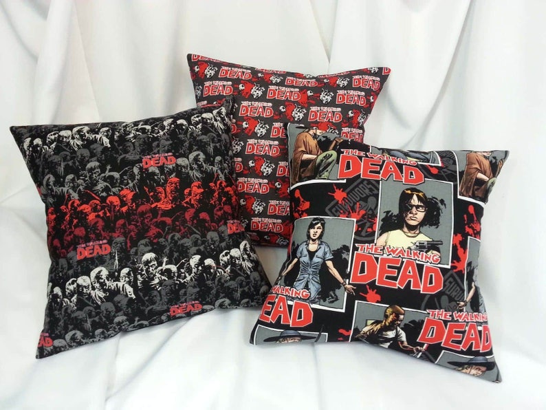 The Walking Dead Comic fabric made into a throw pillow cover. image 0