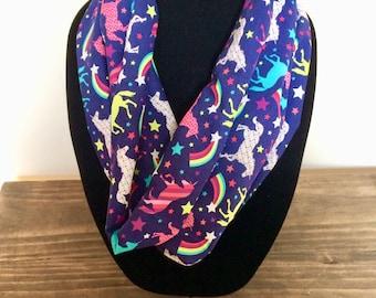 Unicorn infinity scarf, unicorn scarf, unicorn accessories
