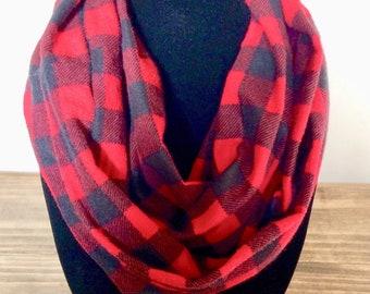 Buffalo plaid red and black infinity scarf, buffalo check infinity scarf, check scarf, checked scarf, buffalo scarf