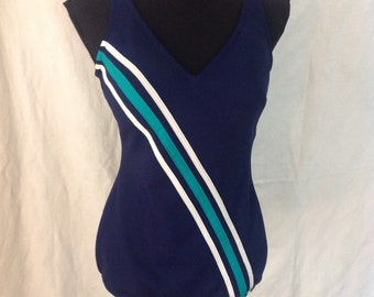 10242a40242 Mod Bathing Suit / Swimsuit Swimwear/ Navy Blue One Peice / Pinup / Robby  Len