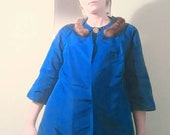 Royal Blue Swing Coat reduced Taffeta w Fur Trimmed Collar Rhinestone Button Dress Coat New Look 1950 39 s 50s