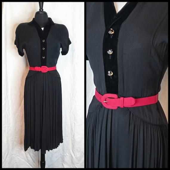 MARI DRESS 1930's 30s / 1940's 40s Black Rayon Cre