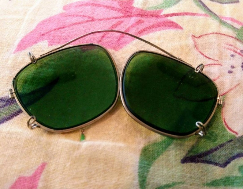56d217cb8 1940's 40s Clip On Green Tinted Aviator Sunglasses and | Etsy